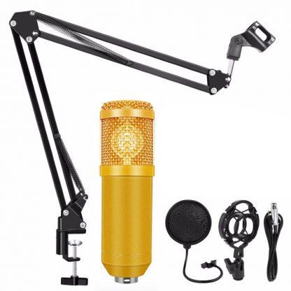 Конденсаторный студийный микрофон BM 800 с подставкой (Золотой) купить в Москве по недорогой цене
