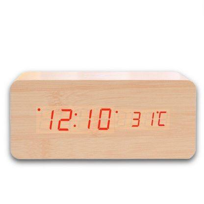 LED часы с беспроводной подзарядкой для телефона (Бежевый) купить в Москве по недорогой цене