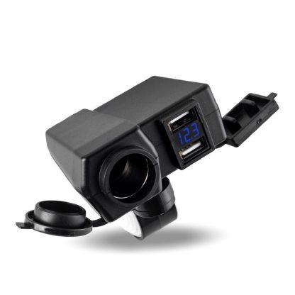 USB мото розетка с вольтметром и прикуривателем купить в Москве по недорогой цене