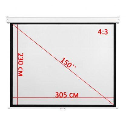 """Экран для проектора 150"""" 4:3 305*230 см настенно-потолочный рулонный купить в Москве по недорогой цене"""
