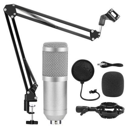 Конденсаторный студийный микрофон BM 800 с подставкой (Серебрянный) купить в Москве по недорогой цене