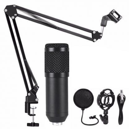 Конденсаторный студийный микрофон BM 800 с подставкой (Черный) купить в Москве по недорогой цене
