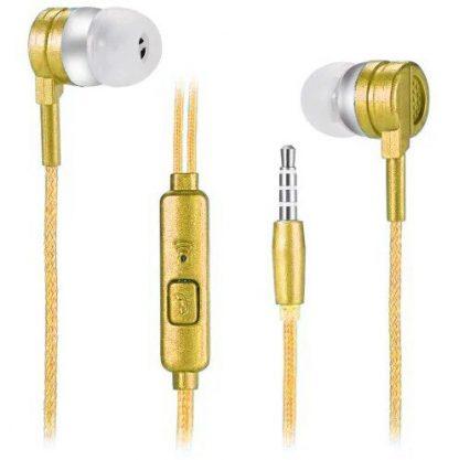Стерео наушники E-03 SMART BASS с микрофоном (золотой) купить в Москве по недорогой цене