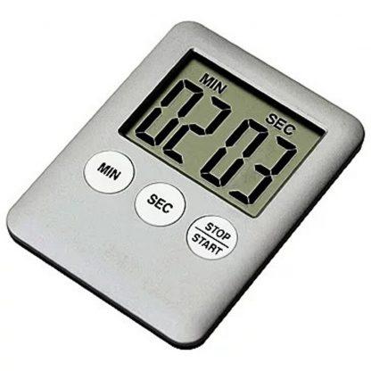 Таймер кухонный электронный с магнитом на холодильник (Серебряный) купить в Москве по недорогой цене