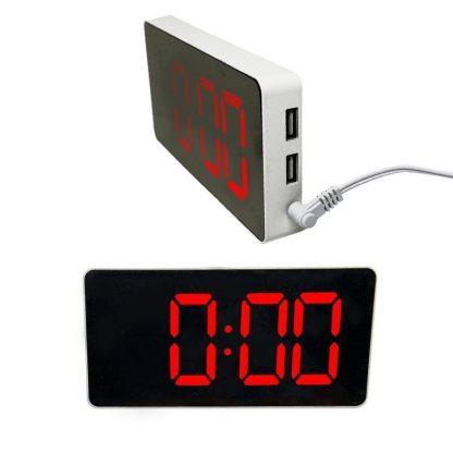 LED зеркальные электронные часы c будильником и термометром (Красный) купить в Москве по недорогой цене