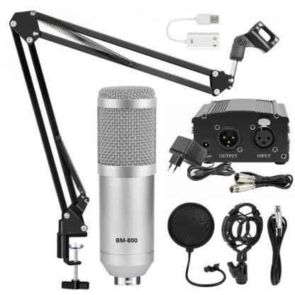 Комплект: конденсаторный микрофон BM800 (серебряный)